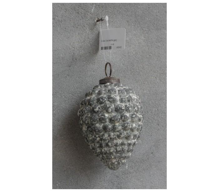 Image of   Julekugle i glas H10 cm - Marmor grå