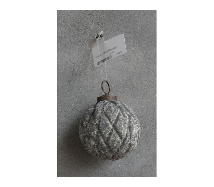 Image of   Julekugle i glas Ø7,5 cm - Marmor grå