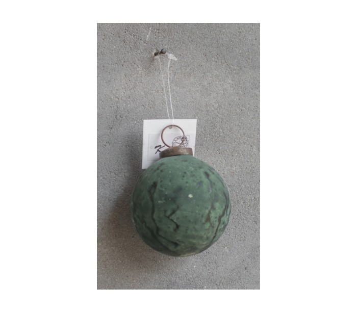 Image of   Julekugle i glas Ø7,5 cm - Marmor grøn