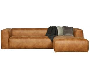 Moderne hjørnesofa i ægte læder 305 x 175 cm - Cognac