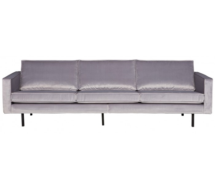 Image of   3-personers sofa i velour B277 cm - Lysegrå