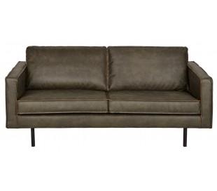 2,5-personers sofa i læder B190 cm - Vintage armygrøn