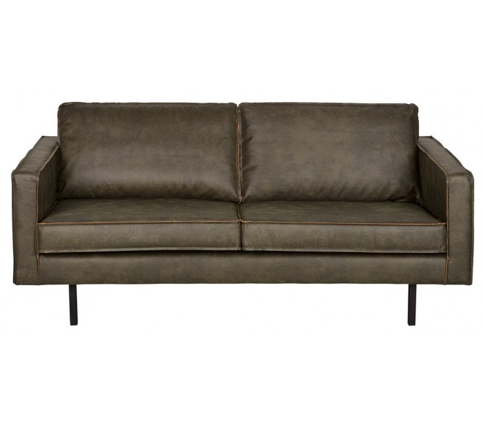 Image of   2,5-personers sofa i læder B190 cm - Vintage armygrøn