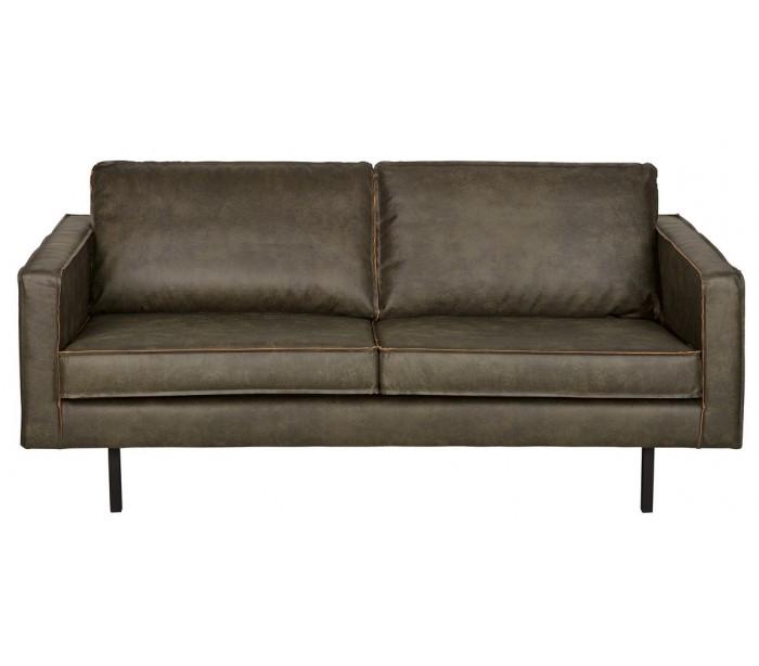 2,5-personers sofa i læder B190 cm – Vintage armygrøn