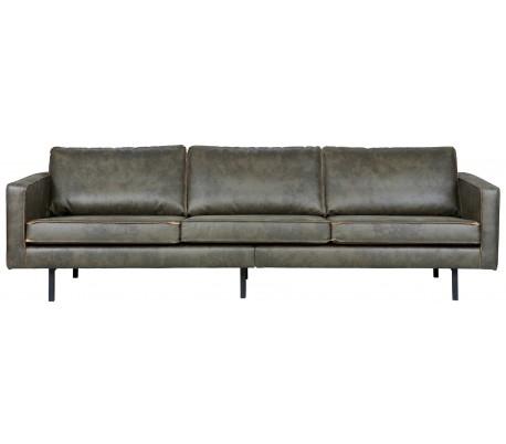 3-personers sofa i læder B277 cm – Vintage armygrøn