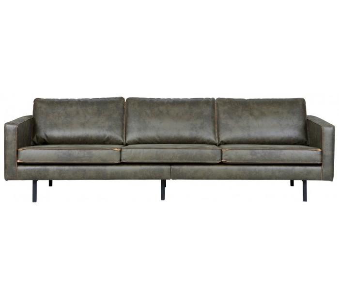Image of   3-personers sofa i ægte læder B277 cm - Vintage armygrøn