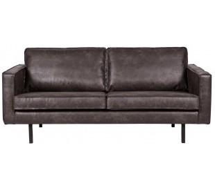 2,5-personers sofa i læder B190 cm - Vintage sort