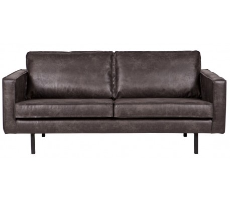 2,5-personers sofa i læder B190 cm – Vintage sort