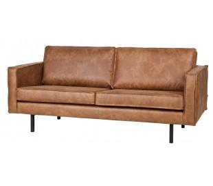 2,5-personers sofa i ægte læder B190 cm - Vintage sort