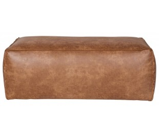 Skammel i ægte læder H43 x B120 x D60 cm - Vintage cognac