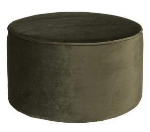 Retro skammel i velour H36 x Ø60 cm - Varm grøn