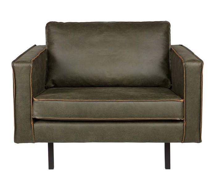 Lænestol i ægte læder B105 cm - Vintage armygrøn
