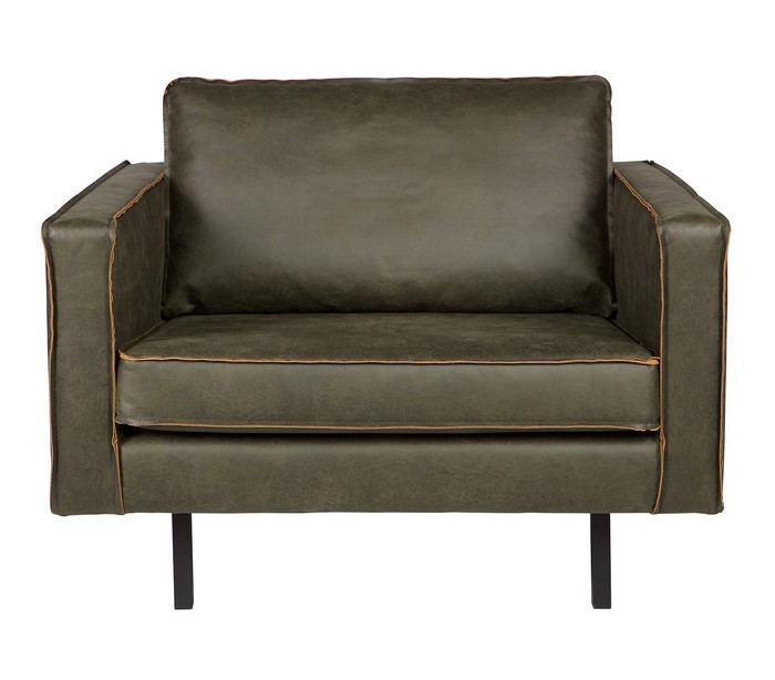 Lænestol i læder B105 cm – Vintage armygrøn fra Selected by Lepong