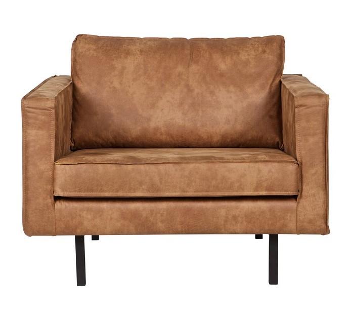 Lænestol i ægte læder B105 cm - Vintage cognac