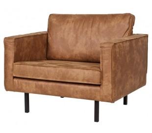 Lænestol i ægte læder B105 cm - Vintage sort