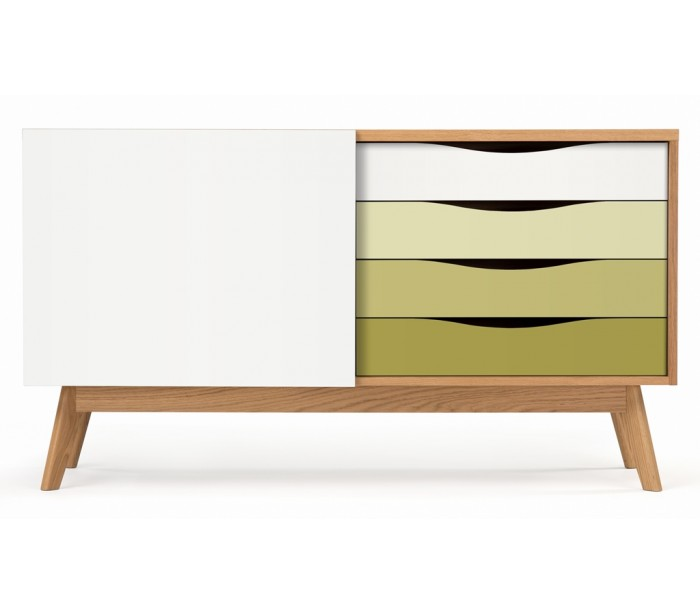 Image of   Avon sideboard i retro design - Eg/Oliven