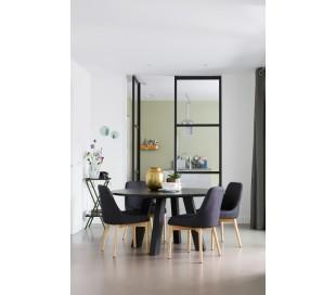 Spisebord i olieret eg H77 x Ø129 cm - Sort
