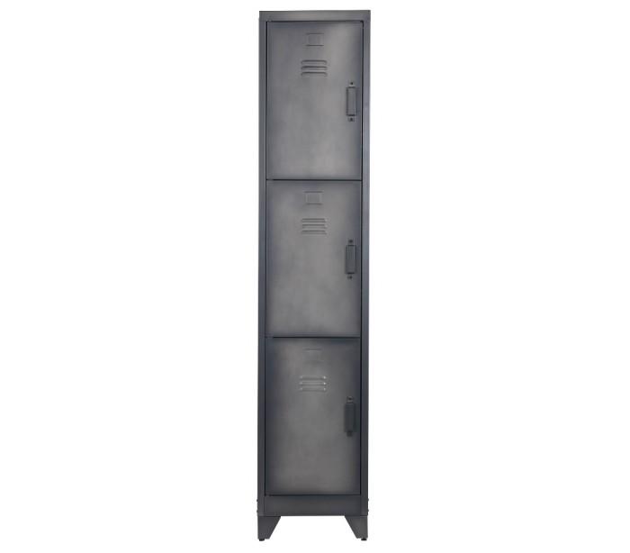 Image of   Industrielt 3-delt skab i metal H180 x B38 x D46 cm - Rå sort