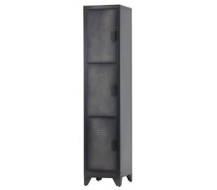 Industrielt 3-delt skab i metal H180 x B38 x D46 cm - Rå sort