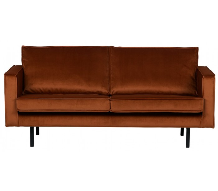 Image of 2,5-personers sofa i velour B190 cm - Rust