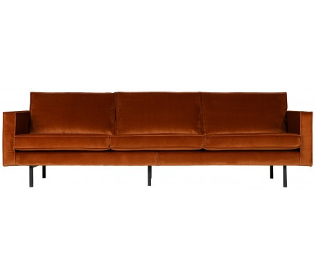 3-personers sofa i velour B277 cm – Rust