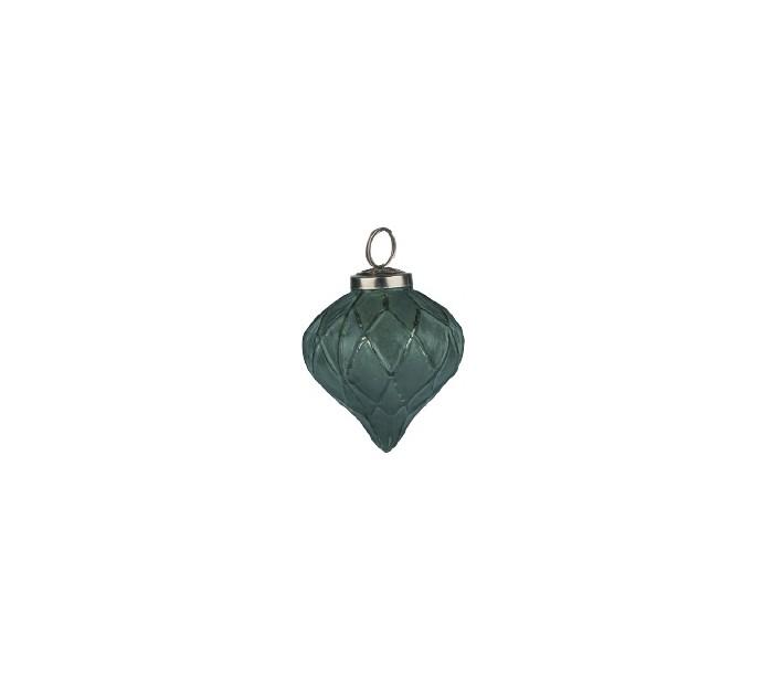 Image of   Julekugle i glas Ø7,5 cm - Antik mørkegrøn