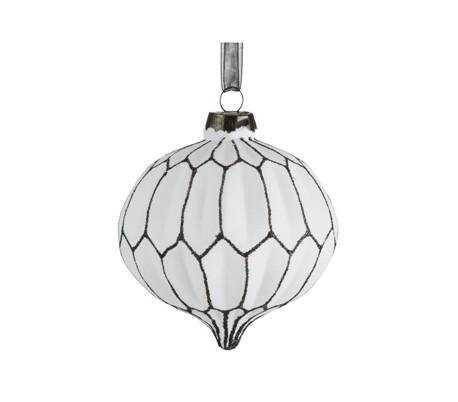 Julekugle i glas Ø8 cm - Hvid/Sort