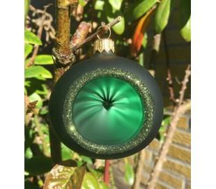 Retro julekugle med reflektor i glas Ø6 cm - Mørkegrøn