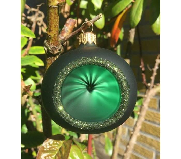 Retro julekugle med reflektor i glas ø7 cm - mørkegrøn fra eglo på lepong.dk