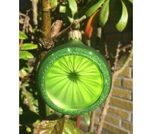 Retro julekugle med reflektor i glas Ø6 cm - Lysegrøn