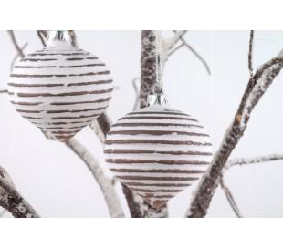 Julekugle i glas Ø8 cm - Grå/Hvid