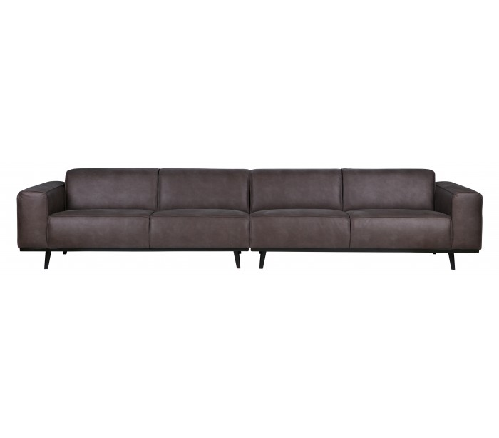 selected by lepong 4-personers sofa i læder 372 cm - grå