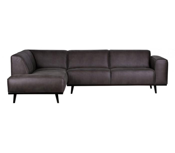 Hjørnesofa i læder 274 x 210 cm – Grå