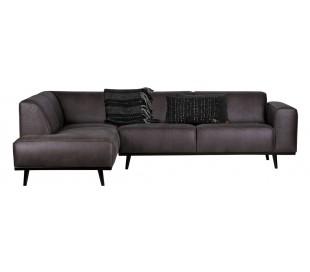 Hjørnesofa i læder 274 x 210 cm - Grå