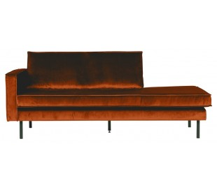 Daybed sofa i velour B206 cm - Rust