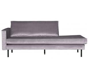 Daybed sofa i velour B206 cm - Lysegrå