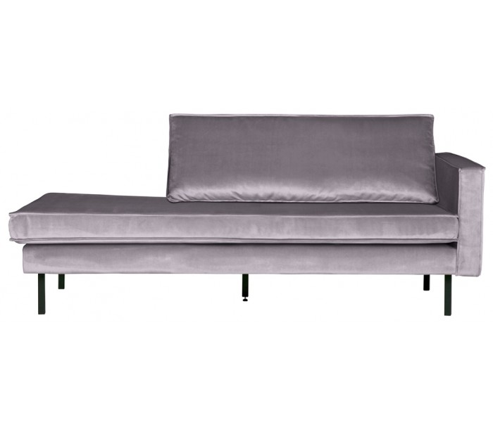 Daybed sofa i velour B206 cm - Lysegrå