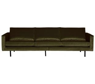 3-personers sofa i velour B277 cm - Mørkegrøn