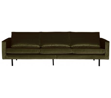 3-personers sofa i velour B277 cm – Mørkegrøn