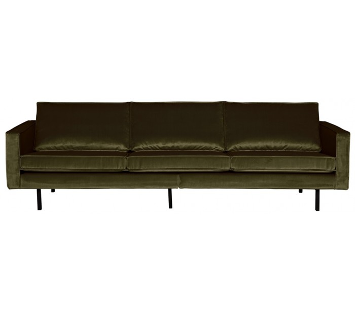 Image of   3-personers sofa i velour B277 cm - Mørkegrøn