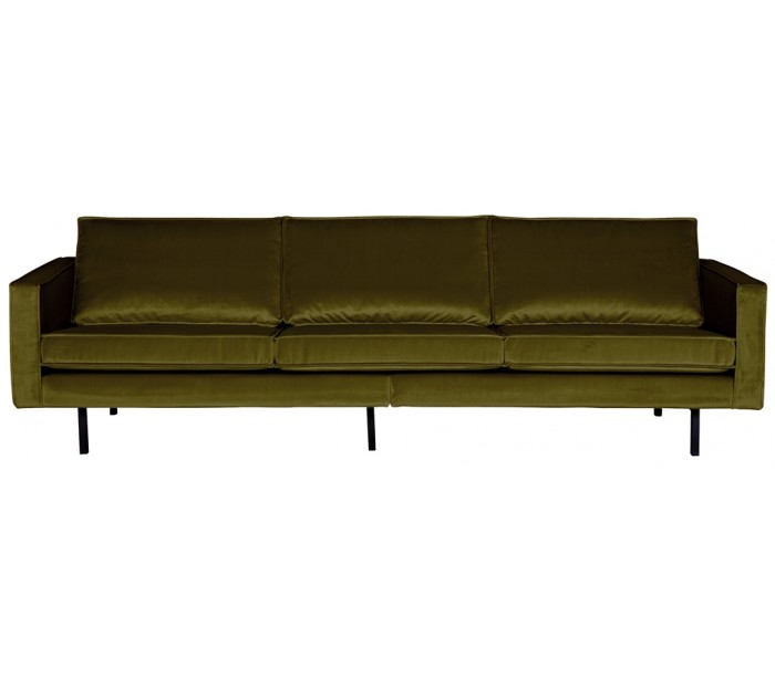 Image of   3-personers sofa i velour B277 cm - Oliven
