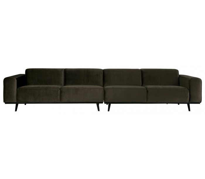 Image of   4-personers sofa i velour 372 cm - Varm grøn
