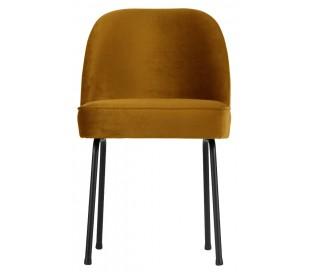Spisebordsstol i velour H82,5 x B50 x D57 cm - Sennepsgul