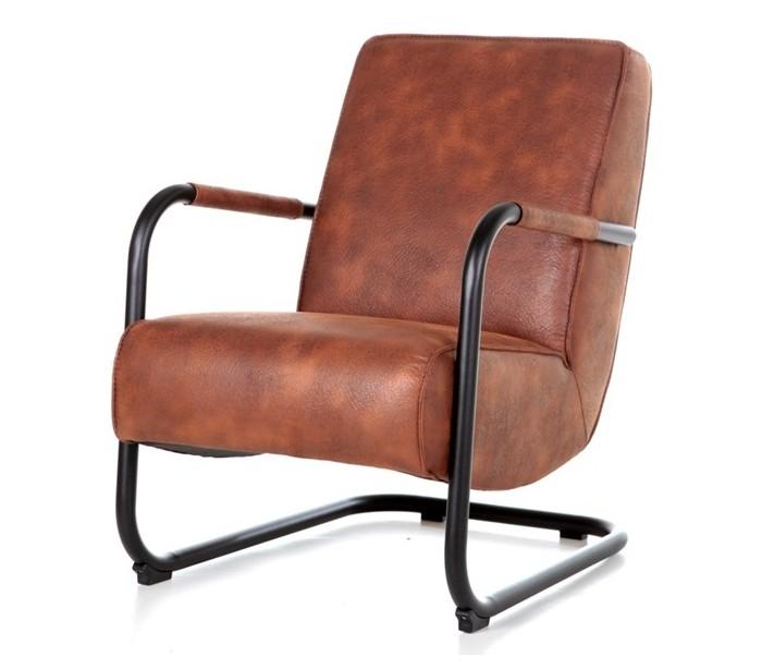 Lænestol i tekstil og metal H84 x B62 x D81 cm - Cognac