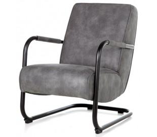 Lænestol i tekstil og metal H84 x B62 x D81 cm - Antracit