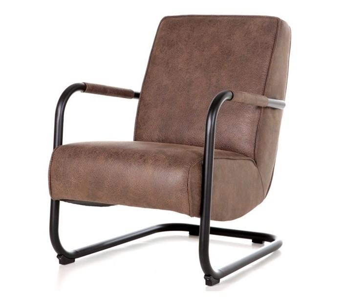 Lænestol i tekstil og metal H84 x B62 x D81 cm - Brun