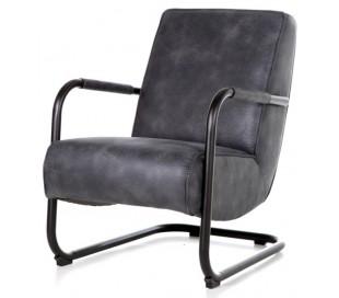 Lænestol i tekstil og metal H84 x B62 x D81 cm - Blå