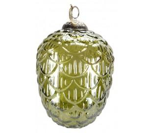 Juleophæng i glas H18 x Ø13 cm - Grøn