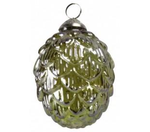 Juleophæng i glas H10 x Ø8 cm - Grøn