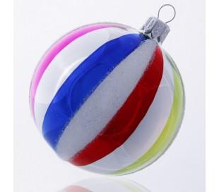Julekugle i mundblæst glas Ø8 cm - Multi